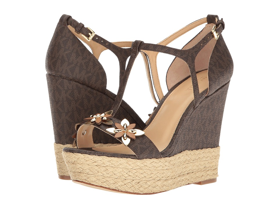 MICHAEL Michael Kors - Heidi Wedge (Brown Mini MK Logo PVC) Women's Wedge Shoes