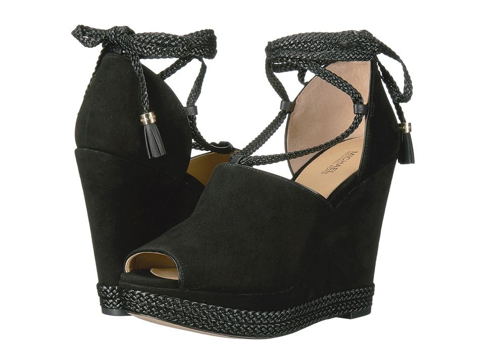 MICHAEL Michael Kors - Hastings Wedge (Black Kid Suede/Nappa/Braid) Women's Wedge Shoes