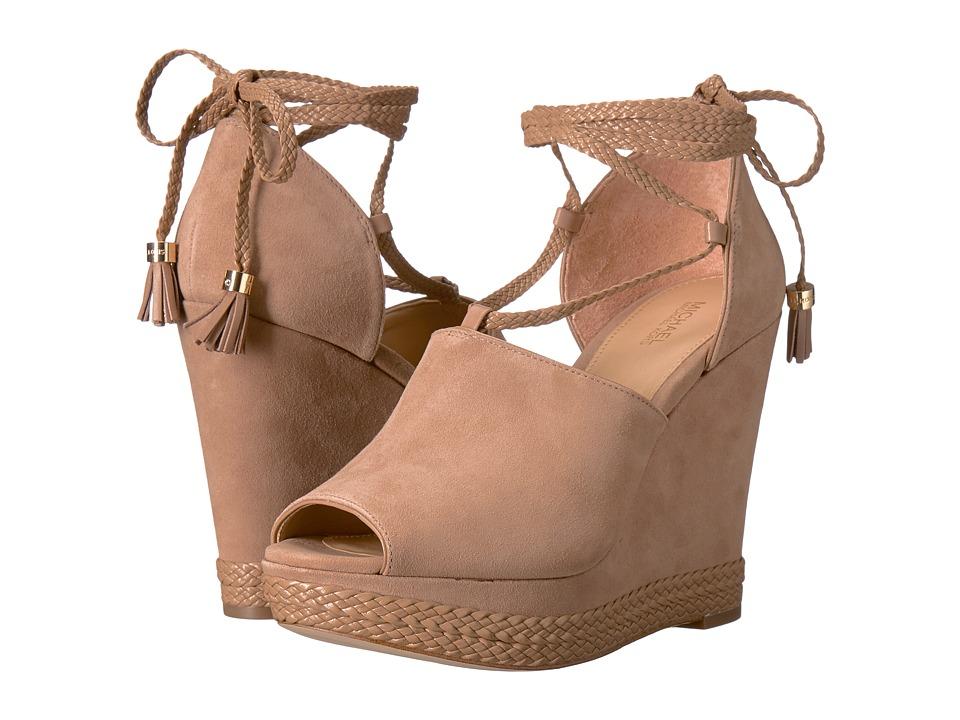 MICHAEL Michael Kors - Hastings Wedge (Dark Khaki Kid Suede/Nappa/Braid) Women's Wedge Shoes