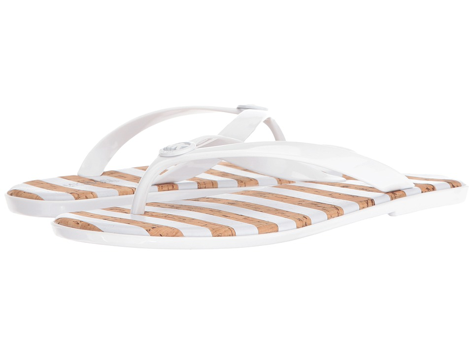 MICHAEL Michael Kors - Jet Set MK Jelly (Optic White PVC/Stripe Printed Cork) Women's Sandals