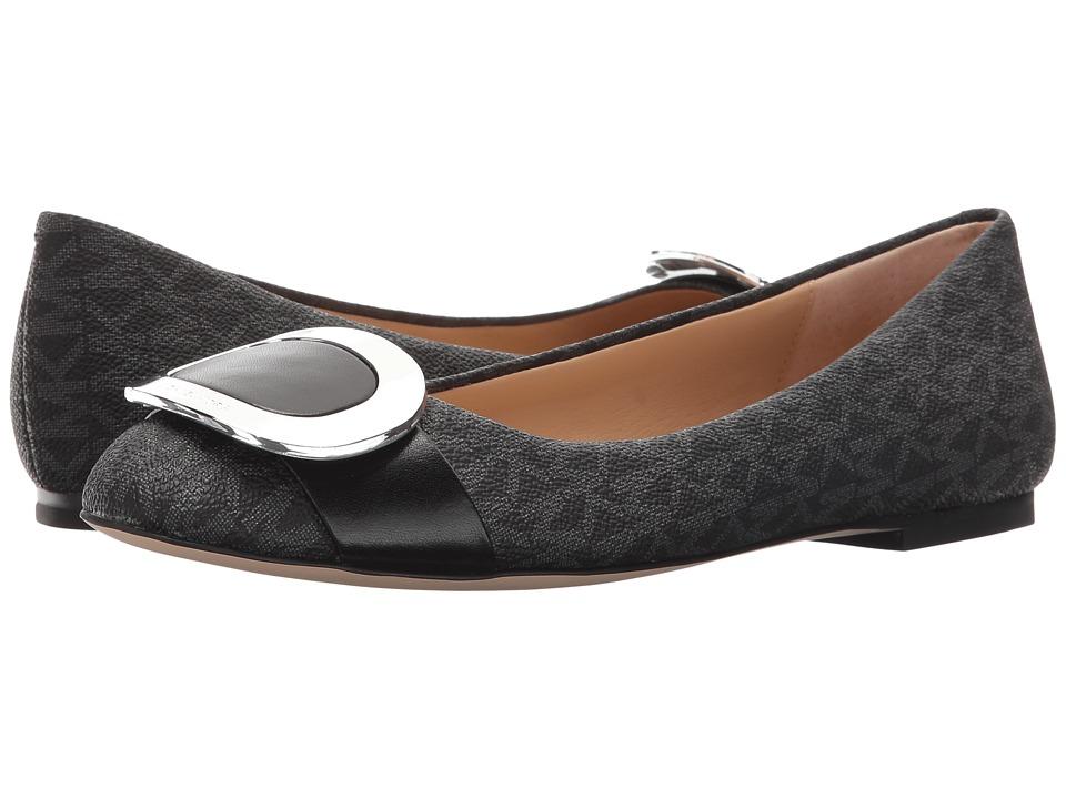 MICHAEL Michael Kors - Pauline Ballet (Black Mini MK Logo PVC/Nappa) Women's Flat Shoes