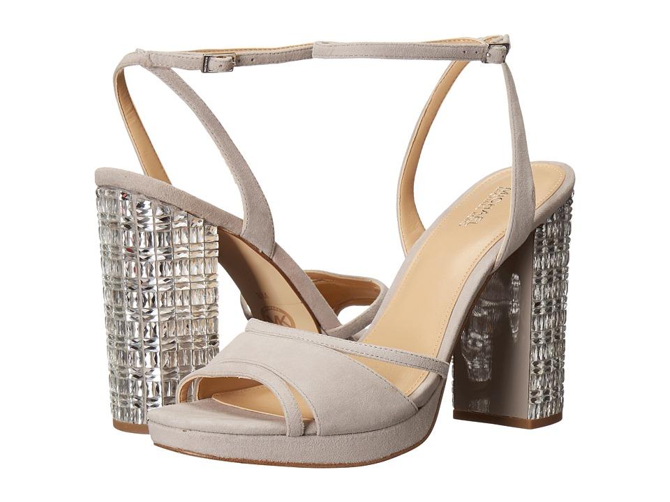 MICHAEL Michael Kors - Yoonie Platform (Pearl Grey Kid Suede/Crystal) Women's Shoes