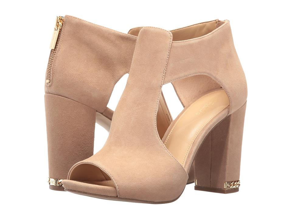 MICHAEL Michael Kors Sabrina Open Toe Dark Khaki Kid Suede Shoes