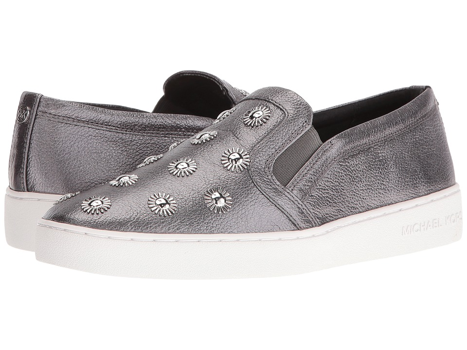 MICHAEL Michael Kors - Leo Slip-On (Gunmetal Pebble Metallic/Starburst Studs) Women's Shoes