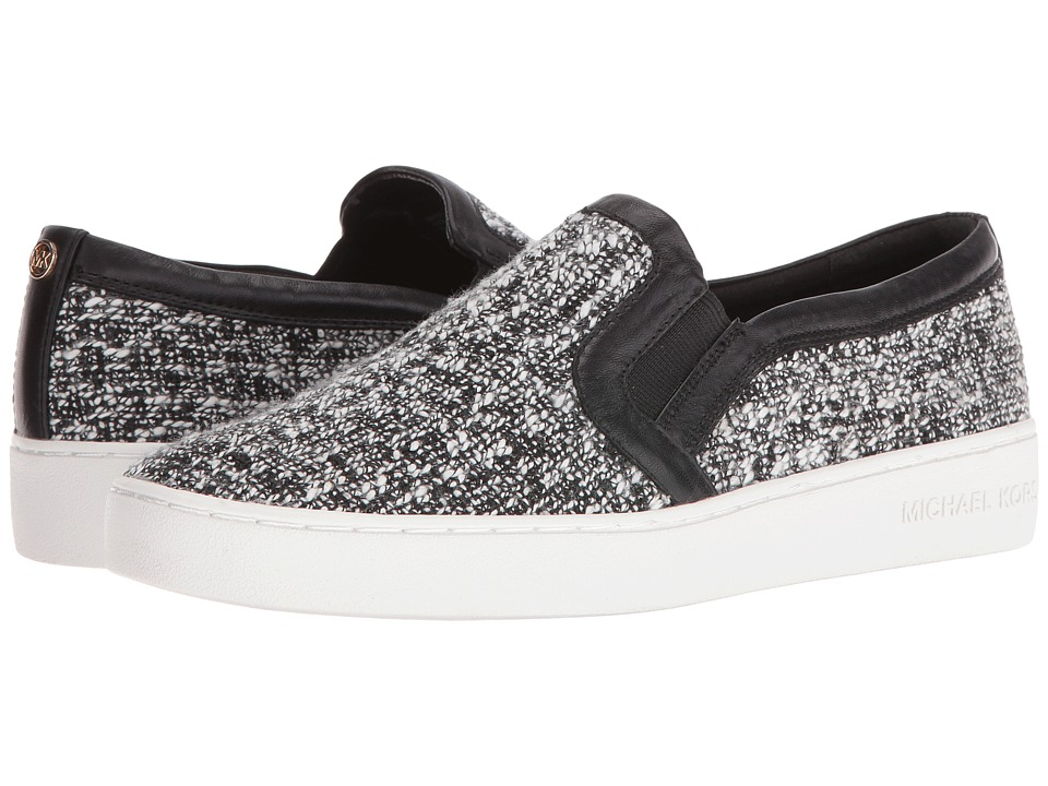 MICHAEL Michael Kors - Leo Slip-On (Black/White Tweed/Nappa) Women's Shoes