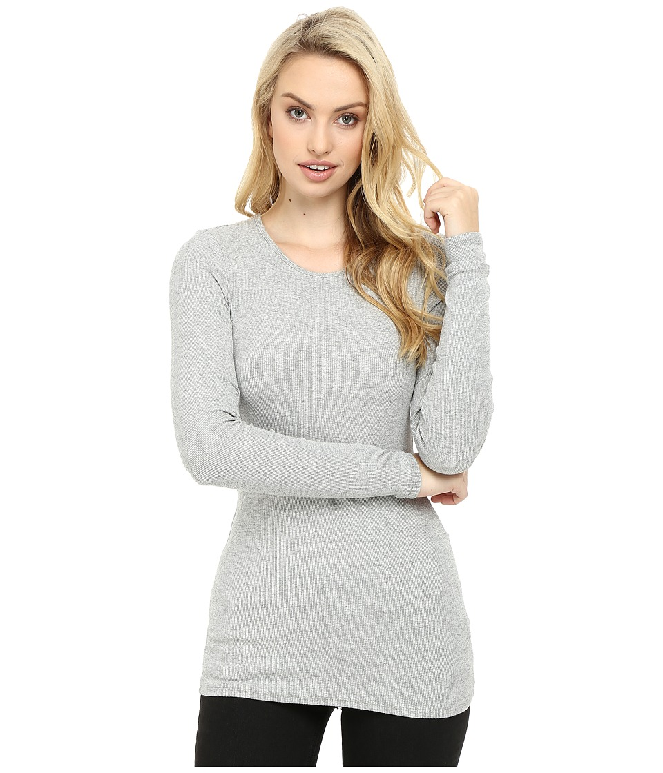 Three Dots - Long Sleeve Crew Neck (Granite) Women's Clothing
