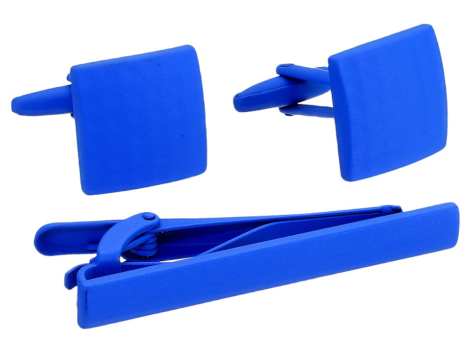 Stacy Adams - Powder Coated Cuff Link Tie Bar Set (Blue) Cuff Links