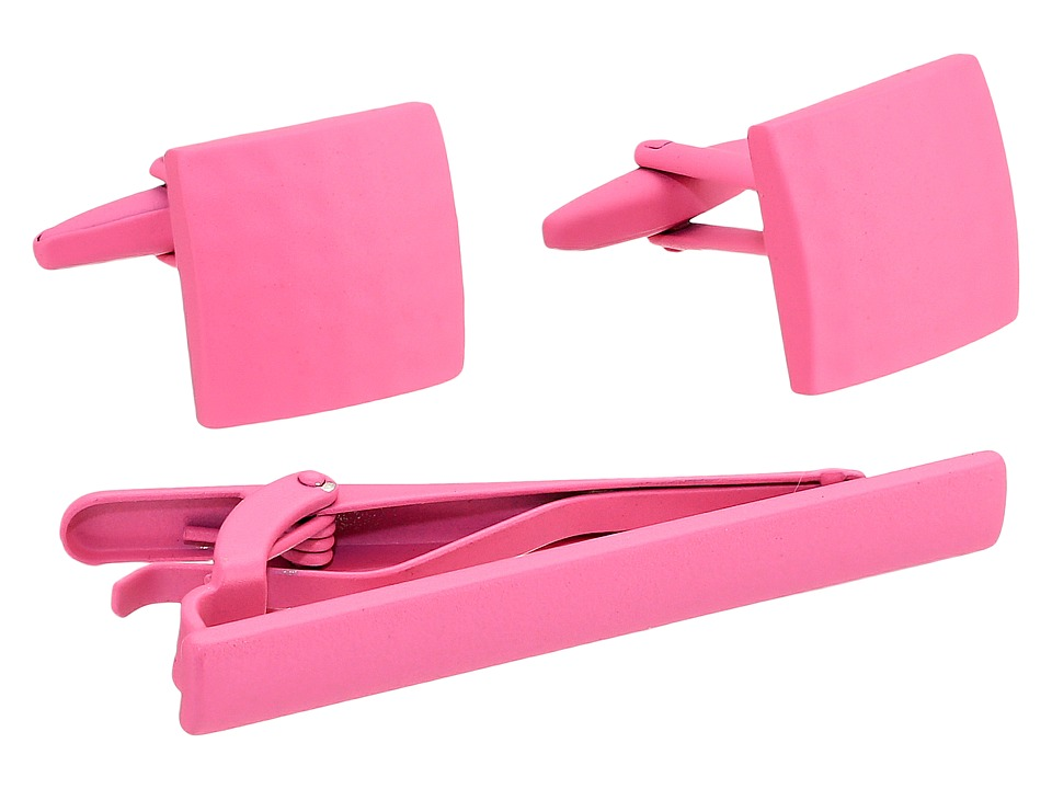 Stacy Adams - Powder Coated Cuff Link Tie Bar Set (Pink) Cuff Links
