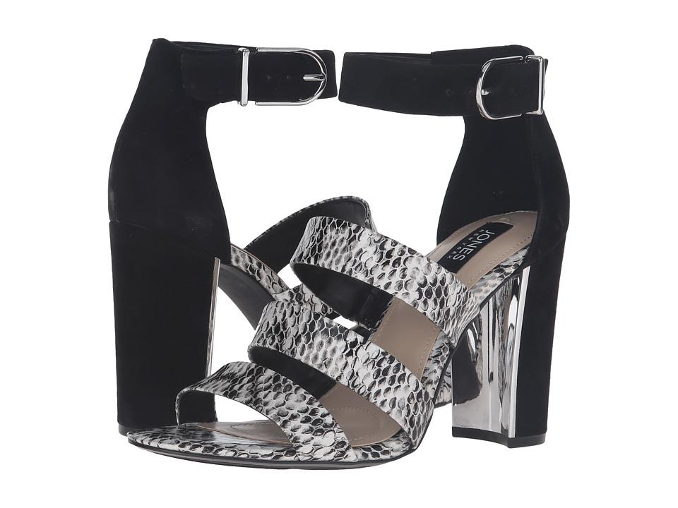 Jones New York - Jesse (Black/White/Black Snake Fabric Print/Kid Suede) Women's Sandals