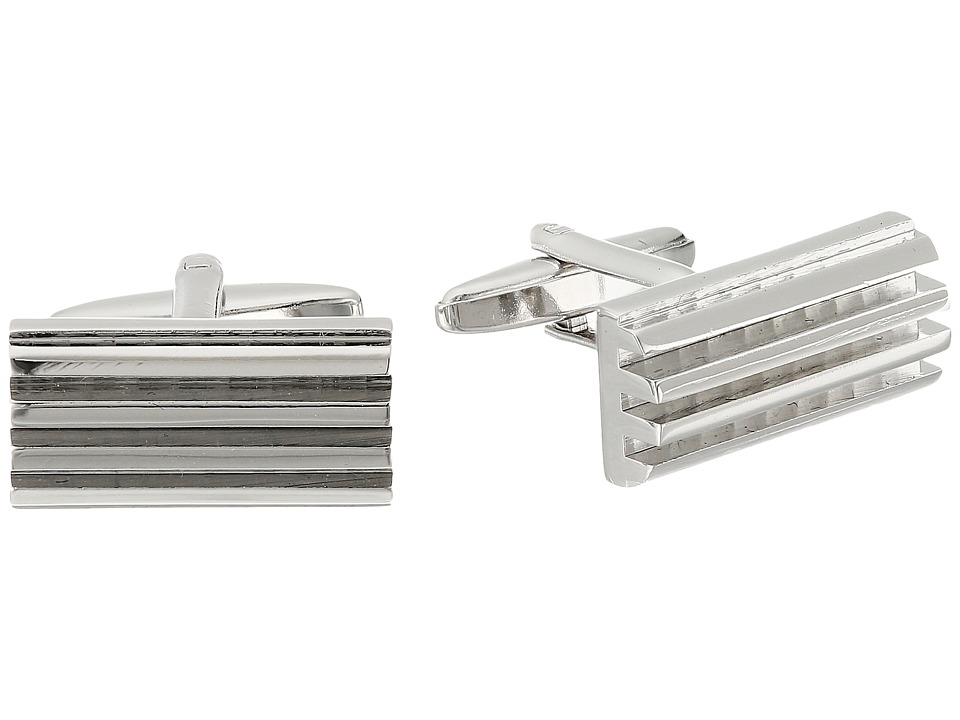 Stacy Adams - Cuff Link - Half Barrel with Grooves (Silver) Cuff Links