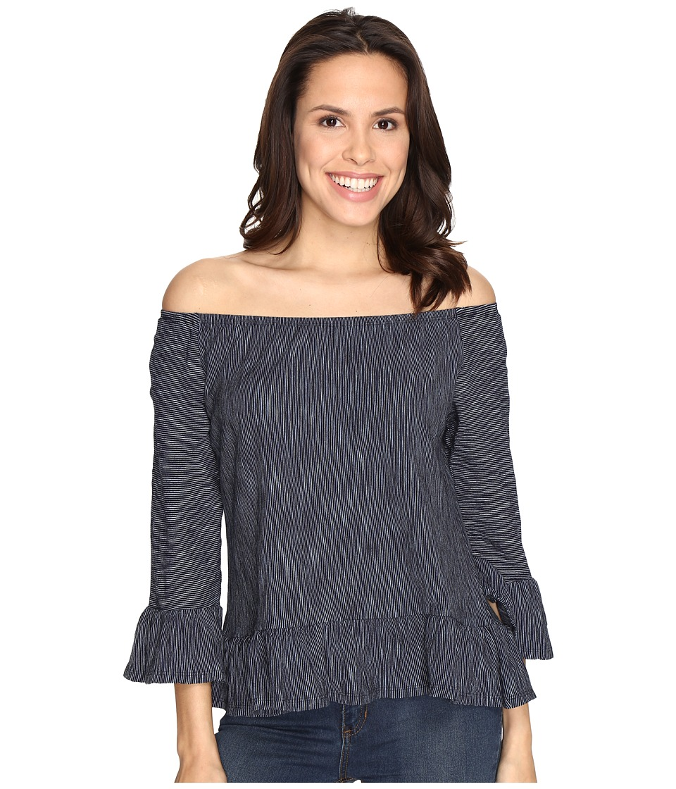 Sanctuary - Juliana Off the Shoulder Top (Marine/Milk Stripe) Women's Long Sleeve Pullover