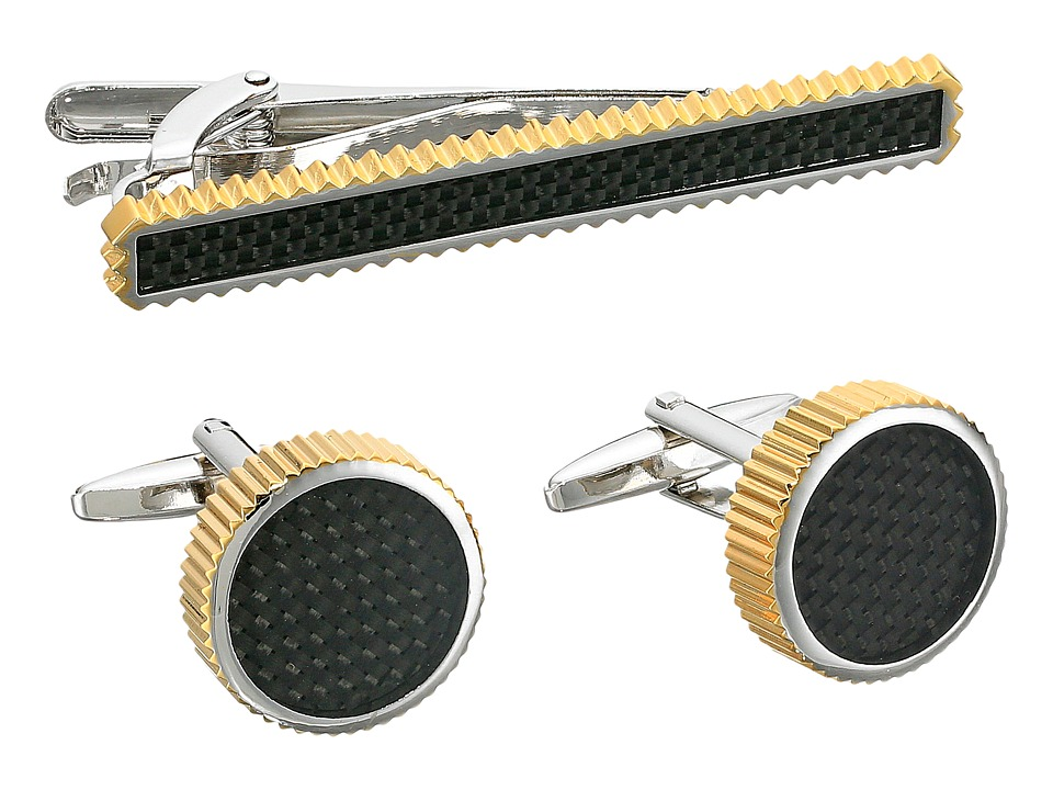 Stacy Adams - Set with Grooved Edge Carbon Fiber (Two-Tone) Cuff Links