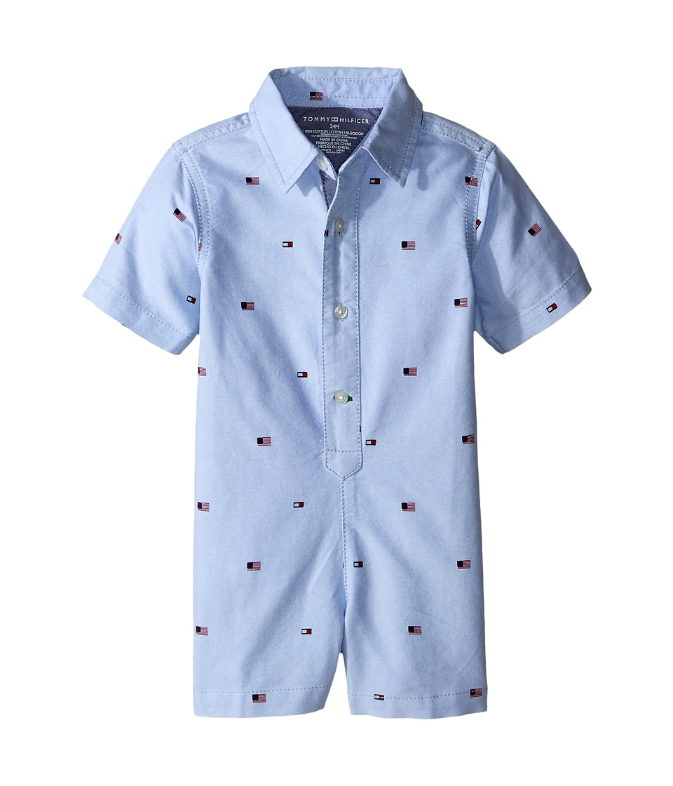 Tommy Hilfiger Kids - Tommy Printed Oxford Romper (Infant) (Oxford Blue) Boy's Jumpsuit & Rompers One Piece
