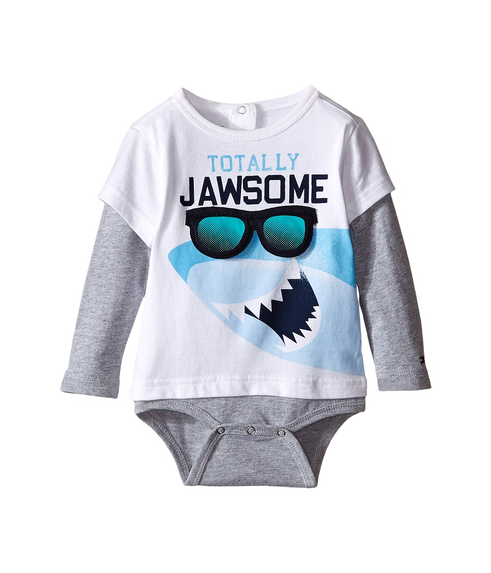 Tommy Hilfiger Kids - Shark Doubler Long Sleeve One-Piece (Infant) (Whtie) Boy's Jumpsuit & Rompers One Piece