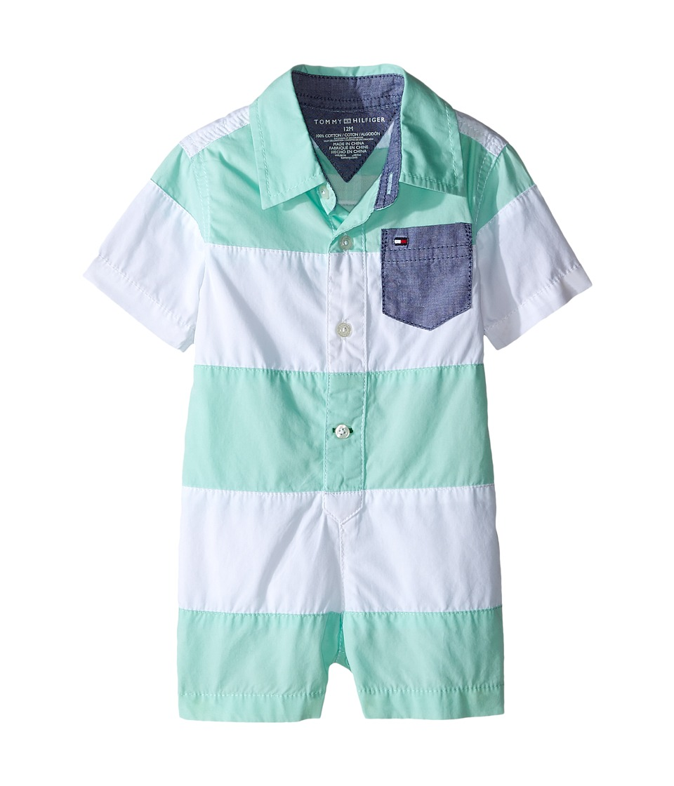 Tommy Hilfiger Kids - Pieced Poplin Shortall (Infant) (Yucca Mint) Boy's Jumpsuit & Rompers One Piece