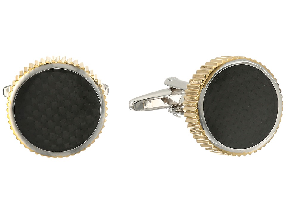 Stacy Adams - Cuff Link Round with Grooved Edge Carbon Fiber (Two-Tone) Cuff Links