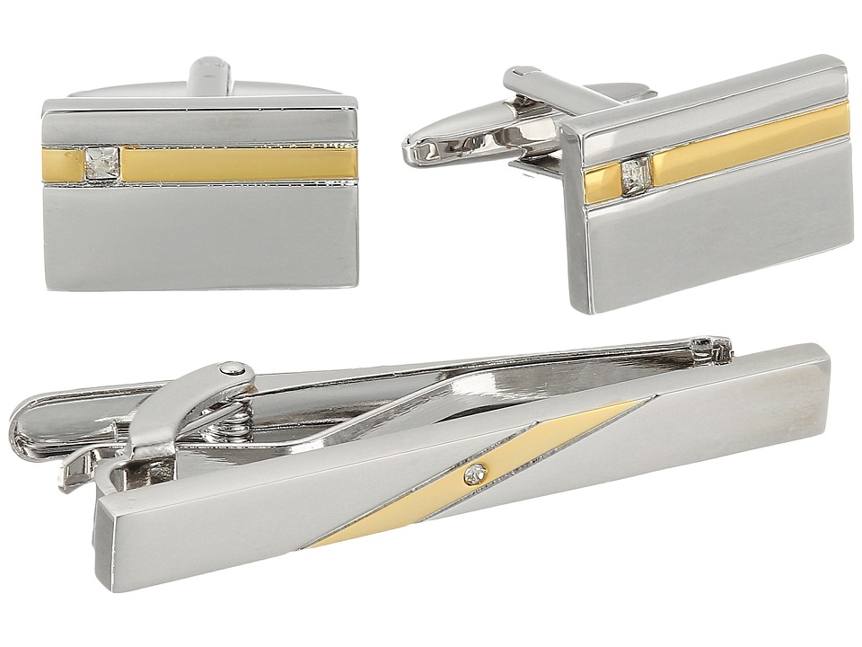 Stacy Adams - Set Silver with Gold Strip and Diamond (Two-Tone) Cuff Links