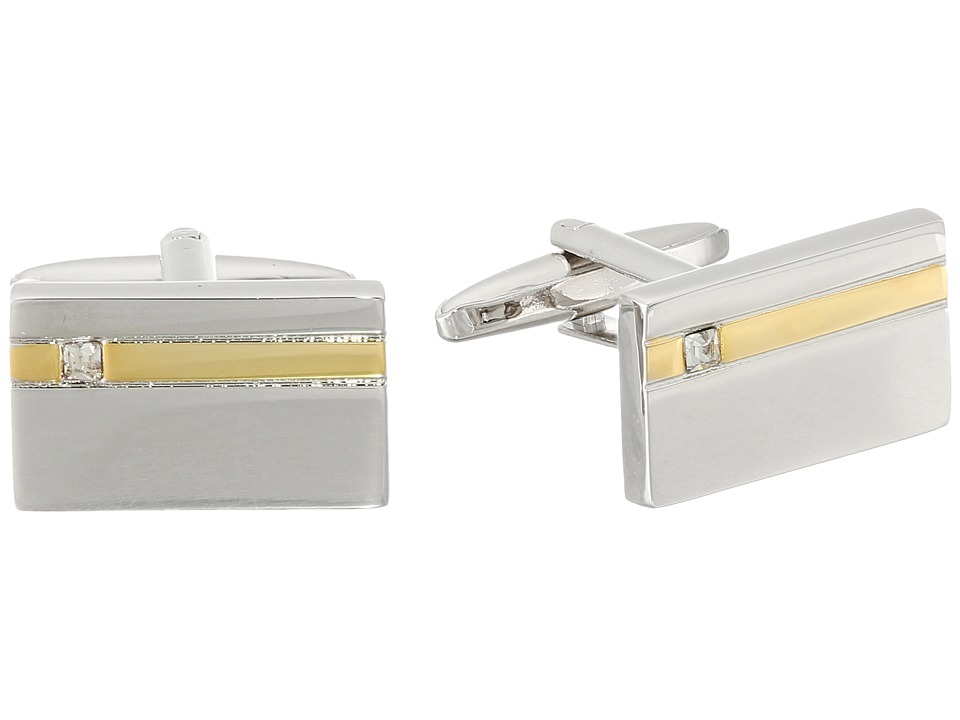 Stacy Adams - Cuff Link Silver with Gold Strip and Diamond (Two-Tone) Cuff Links