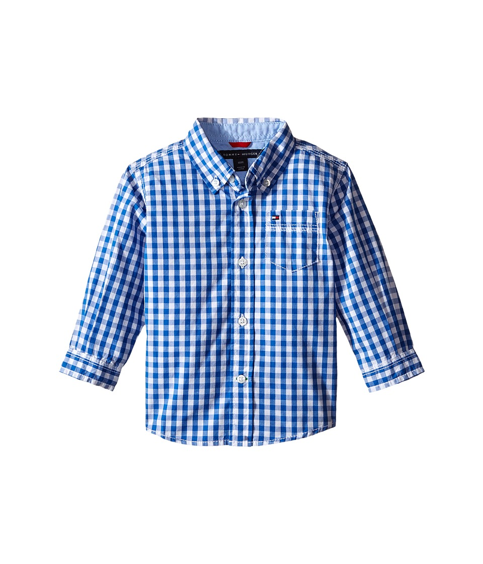 Tommy Hilfiger Kids - Baxter Long Sleeve Yarn-Dye Poplin Woven Shirt (Infant) (Blue Jean) Boy's Clothing