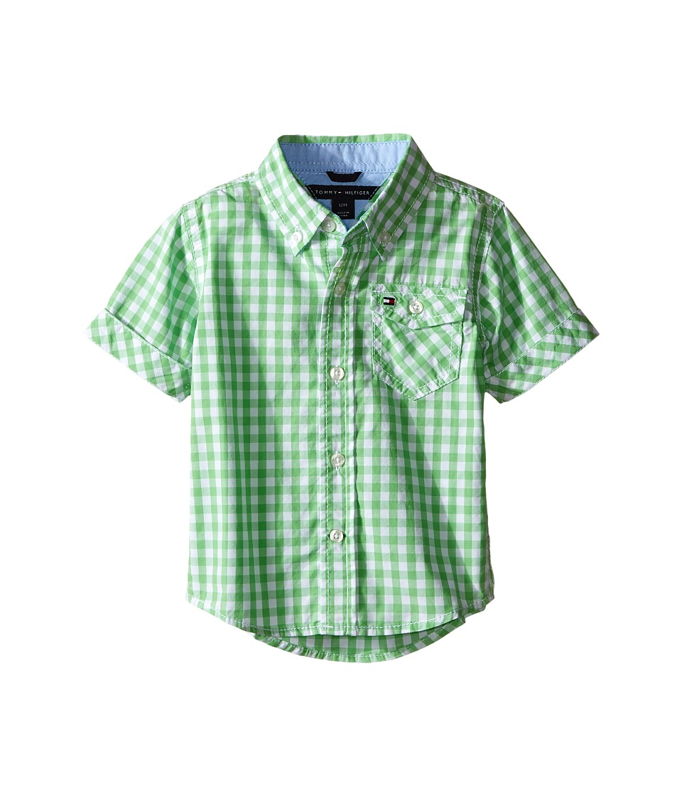 Tommy Hilfiger Kids - Baxter Short Sleeve Yarn-Dye Poplin Woven Shirt (Infant) (Go Green) Boy's Clothing
