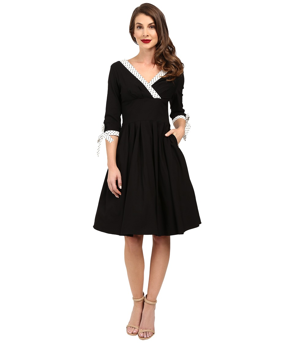 Unique Vintage - 3/4 Sleeve Diana Swing Dress (Black/White Dotted Trim) Women's Dress