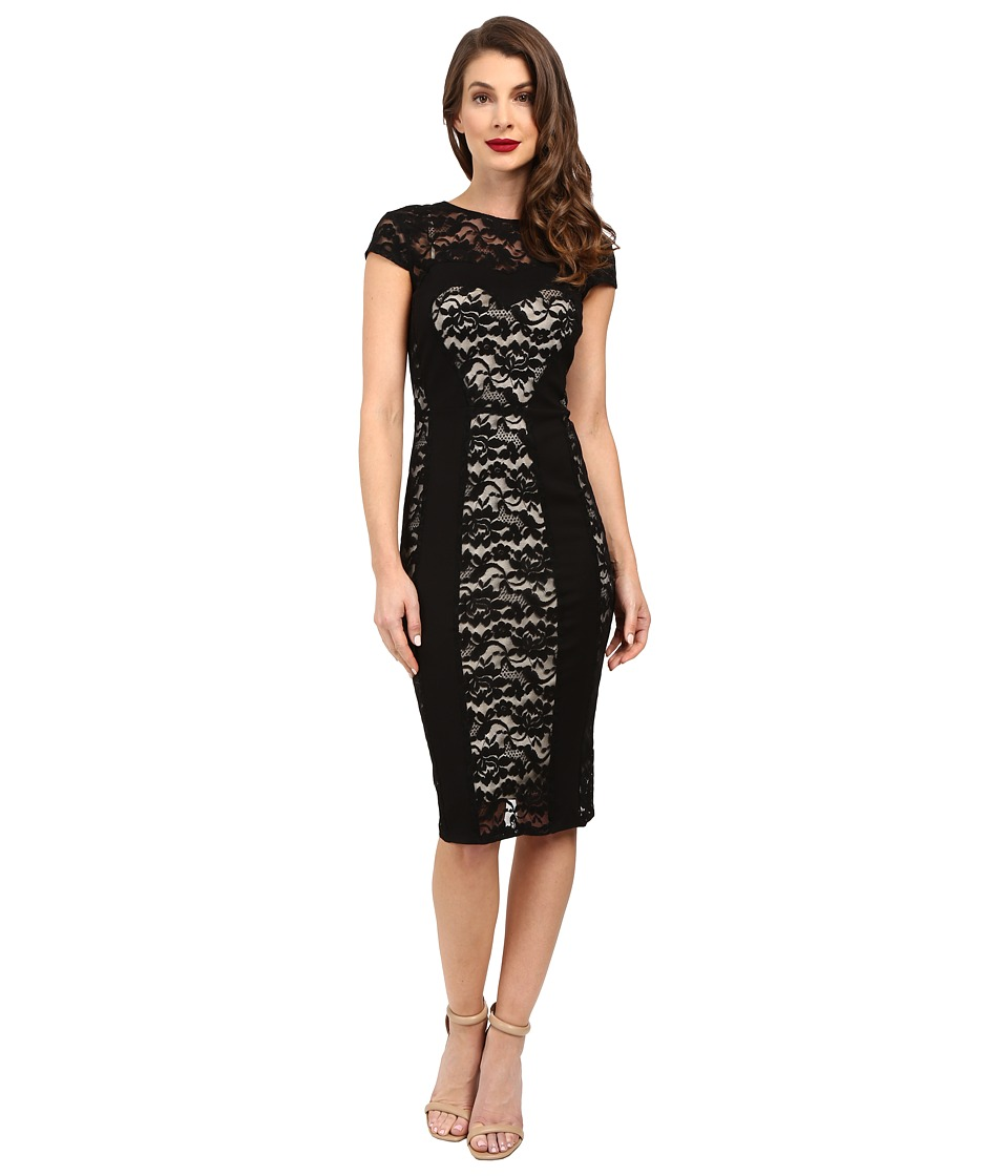 Unique Vintage - Stretch Lace Sweetheart Cap Sleeve Wiggle Dress (Black) Women's Dress