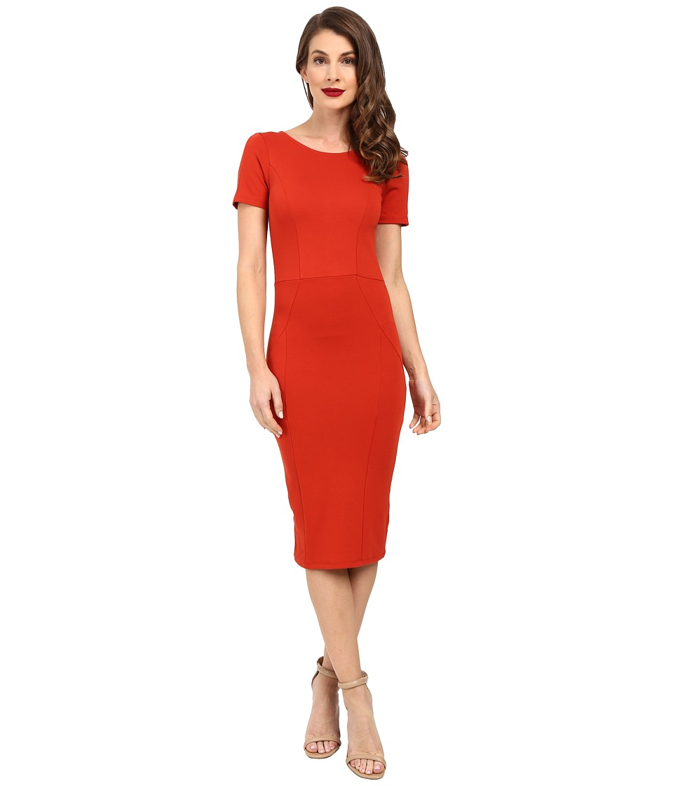Unique Vintage - Short Sleeve Stretch Mod Wiggle Dress (Burnt Orange) Women's Dress