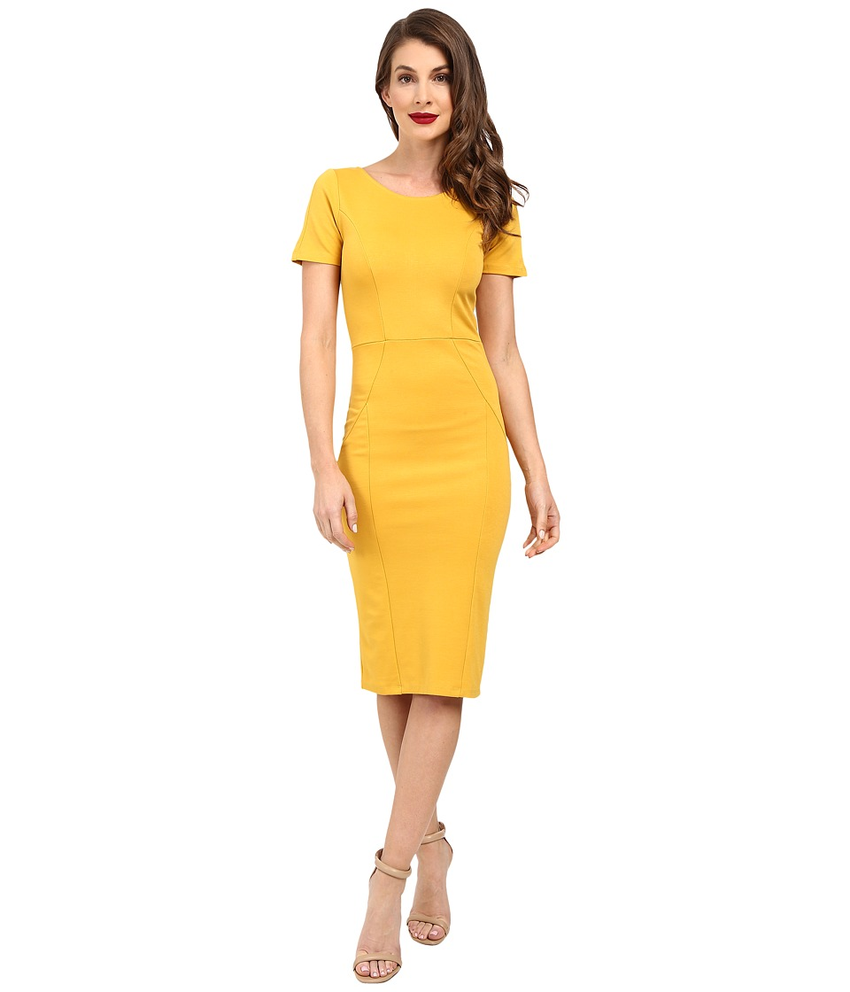 Unique Vintage - Short Sleeve Stretch Mod Wiggle Dress (Mustard) Women's Dress