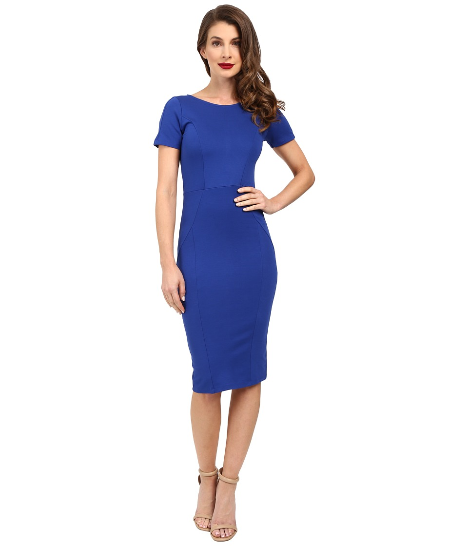 Unique Vintage - Short Sleeve Stretch Mod Wiggle Dress (Royal Blue) Women's Dress