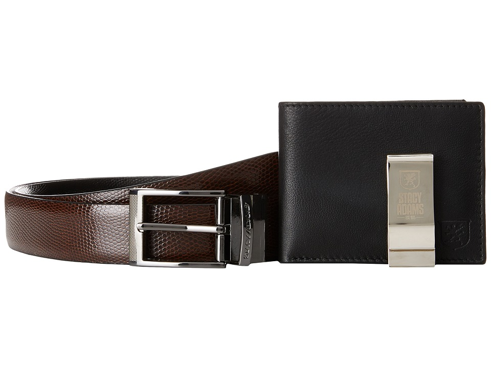 Stacy Adams - Gift Set - Belt, Front Pocket Wallet, Money Clip (Black/Brown) Bi-fold Wallet
