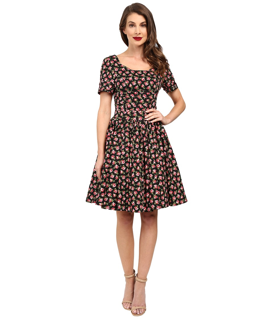 Unique Vintage Roman Holiday Sleeved Scallop Swing Dress (Black Floral) Women