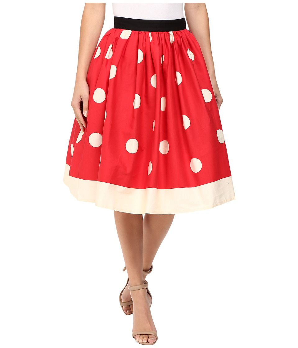 Unique Vintage - Full Swing Skirt (Red/Ivory Dot) Women's Skirt
