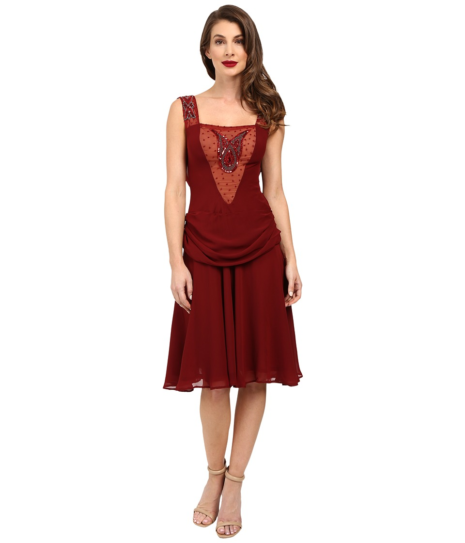 Unique Vintage Chiffon Draping Flapper La Plante Dress (Burgundy) Women
