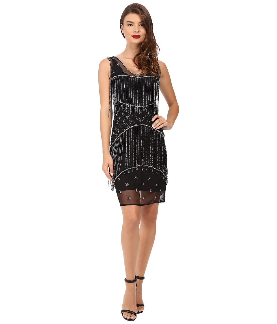 Unique Vintage Beaded Fringe Mesh Flapper Dress (Black/Gunite) Women