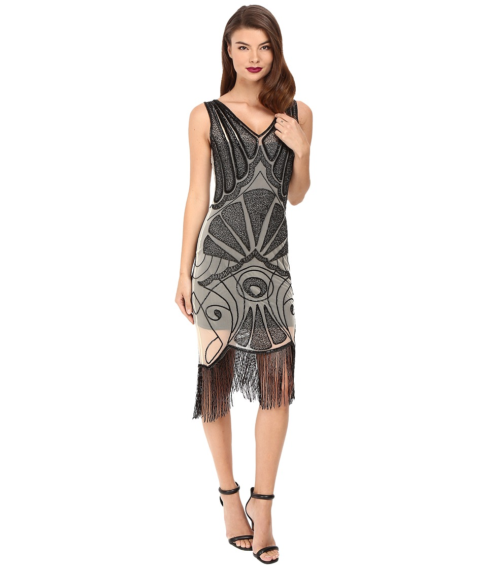 Unique Vintage Beaded Deco Vienna Mesh Flapper Dress (Ivory/Black) Women