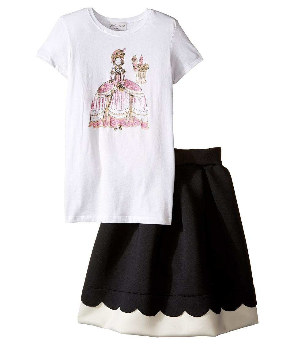 fiveloaves twofish - Marie Anotinette Set w/ Scuba Skirt (Little Kids/Big Kids) (White/Black) Girl's Active Sets
