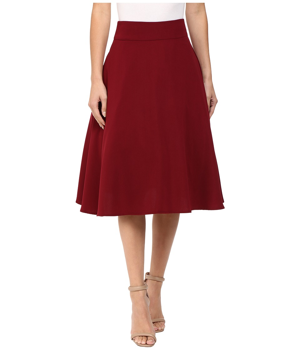 Unique Vintage - High Waist Vivien Swing Skirt (Burgundy) Women's Skirt