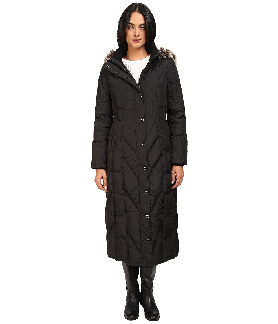 London Fog - Mix Quilted Maxi Coat with Fur Hood (Black) Women's Coat