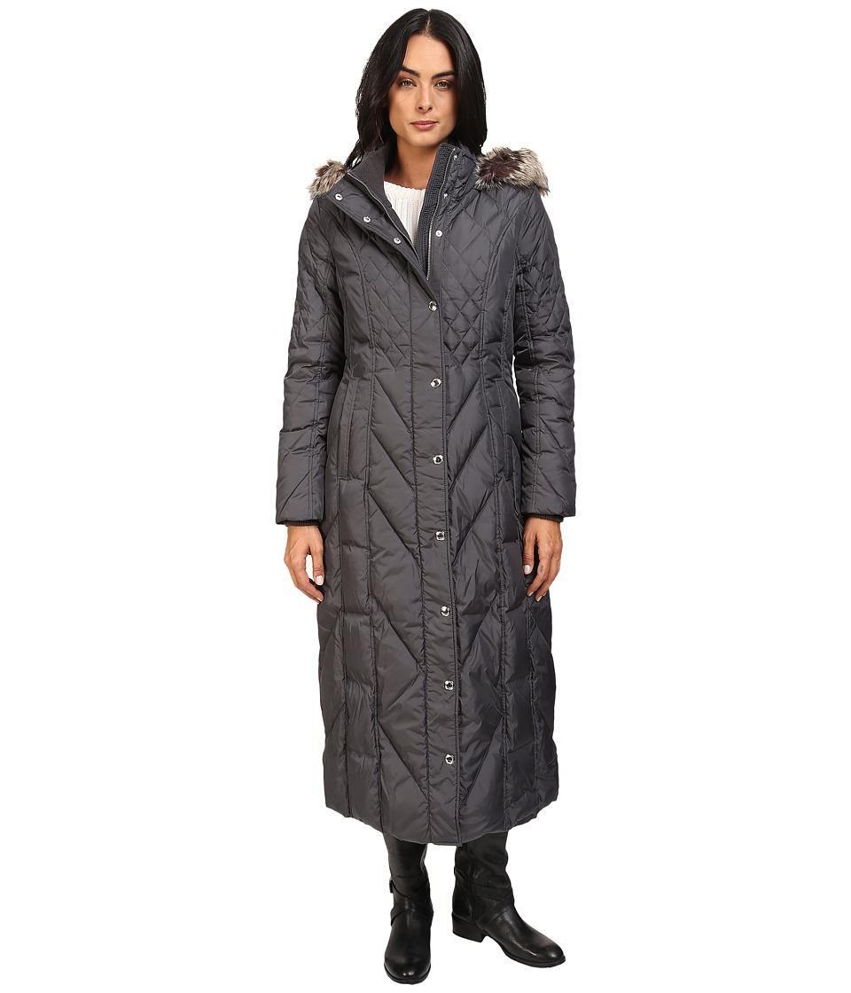 London Fog - Mix Quilted Maxi Coat with Fur Hood (Slate) Women's Coat