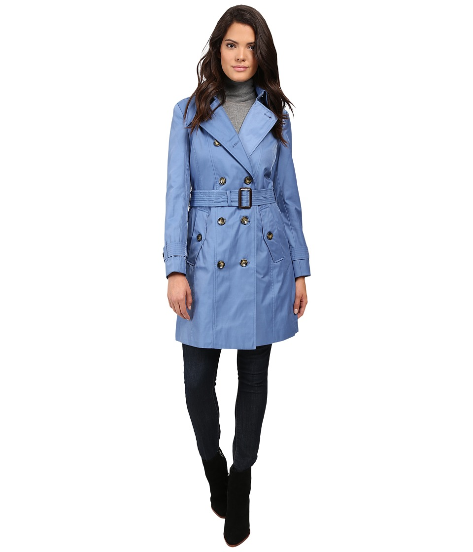 London Fog - Belted Trench Coat (Oxford Blue) Women's Coat