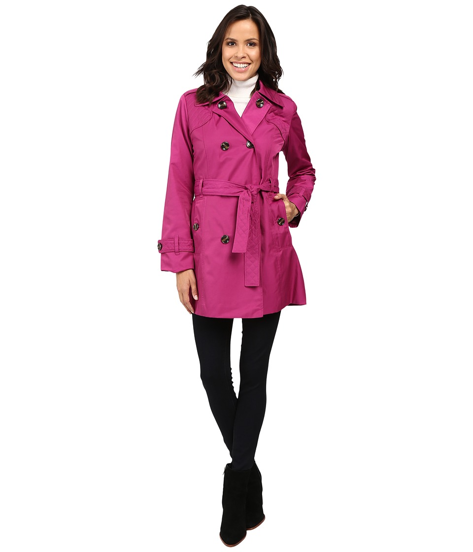 London Fog - Belted Trench Coat with Quilted Detailing (Orchid) Women's Coat plus size,  plus size fashion plus size appare