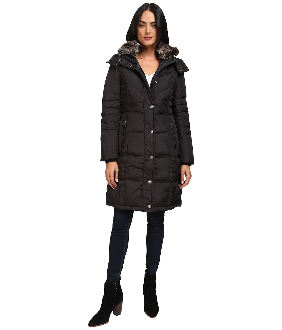 London Fog - Quiled Puffer with Fur Collar (Black) Women's Coat