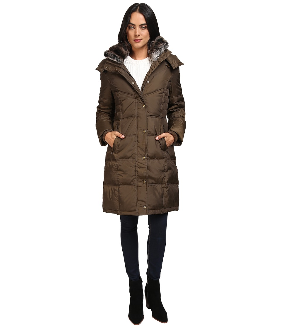 London Fog - Quiled Puffer with Fur Collar (Kale) Women's Coat