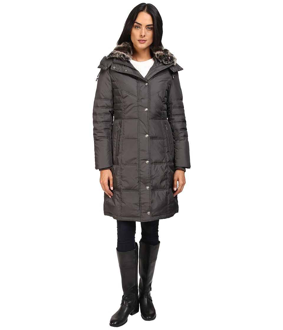 London Fog - Quiled Puffer with Fur Collar (Gunmetal) Women's Coat