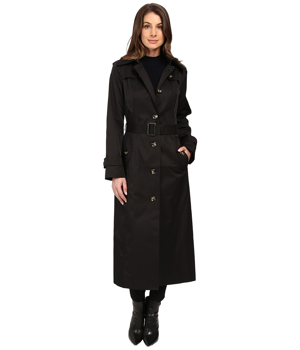 London Fog - Belted Single Breasted Trench Coat (Black) Women's Coat