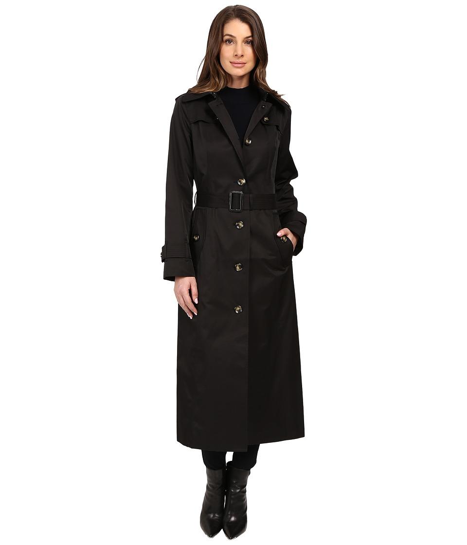 London Fog - Belted Single Breasted Trench Coat (Black) Women's Coat