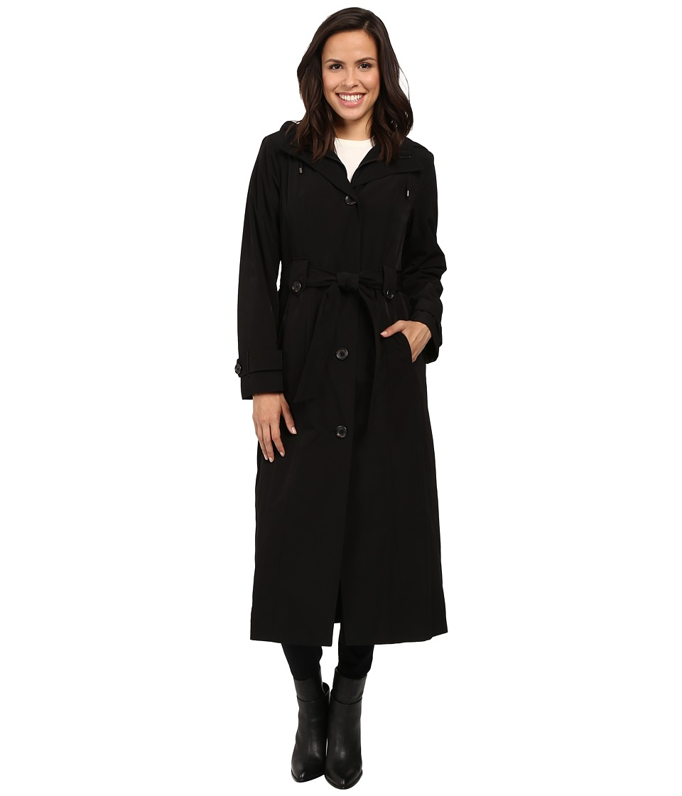 London Fog - Single Breasted Trench with Zip Lining (Black) Women's Coat