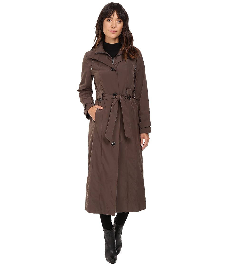London Fog - Single Breasted Trench with Zip Lining (Dark Truffle) Women's Coat