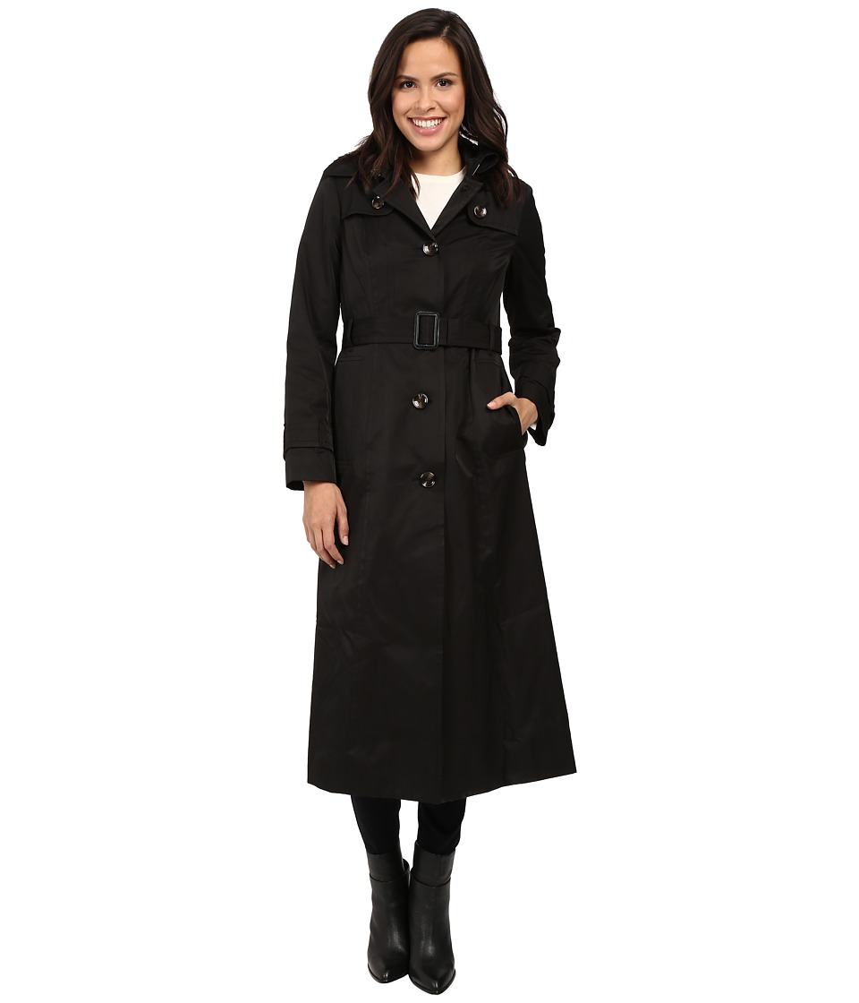 London Fog - Hooded Single Breasted Trench (Black) Women's Coat