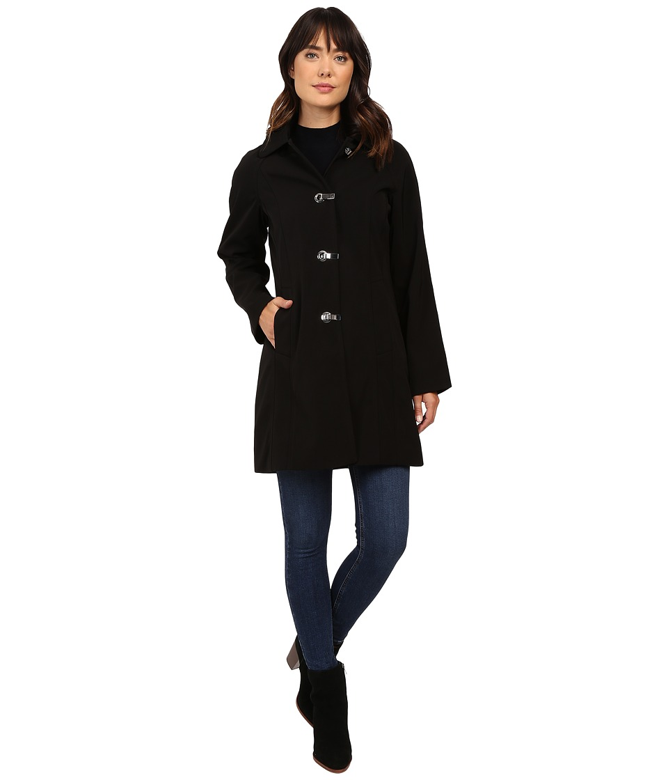 London Fog - Single Breasted Coat with Block Clasp Closure (Black) Women's Coat